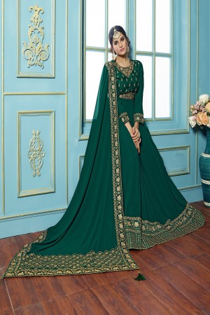 Creative Green Georgette embroieded dupatta with khatli work  Anarkali suit