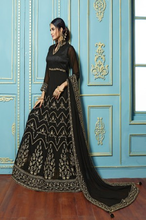 Enticing Black Georgette embroieded dupatta with khatli work  Anarkali suit