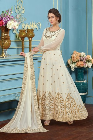 Enchanting White Georgette embroieded dupatta with khatli work  Anarkali suit