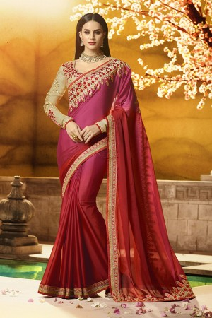 Attractive Red Silk Heavy Embroidery Badala Zari and Sequance Work Saree