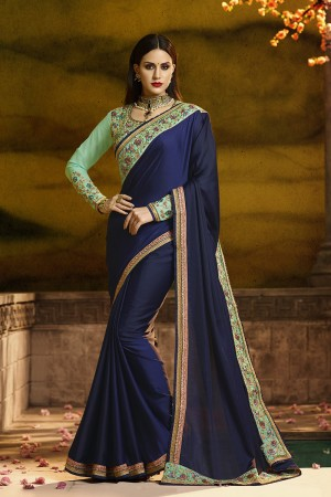 Graceful Nevy Blue Silk Heavy Embroidery Badala Zari and Sequance Work  Saree