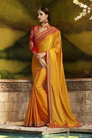 Fabulous Orange Silk Heavy Embroidery Badala Zari and Sequance Work Saree
