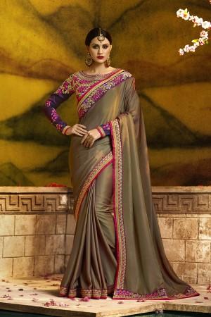 Stunning wine  Silk Heavy Embroidery Badala Zari and Sequance Work  Saree