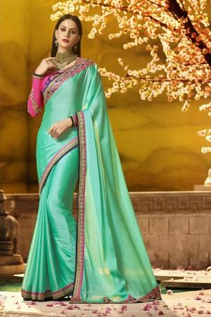 Glitzy Sea Green Silk Heavy Embroidery Badala Zari and Sequance Work  Saree
