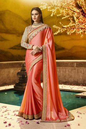 Ethnic Peach Silk Heavy Embroidery Badala Zari and Sequance Work  Saree