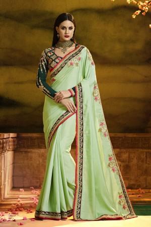 Distinctive Pista Silk Heavy Embroidery Badala Zari and Sequance Work  Saree