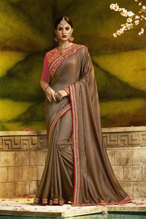 Engrossing Brown Silk Heavy Embroidery Badala Zari and Sequance Work  Saree