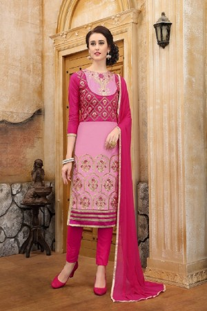 Delightful PINK cotton Heavy Embroidery On Neck  with Lace Border  Dress Material
