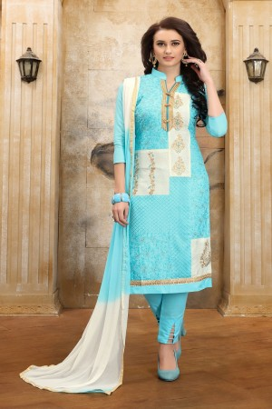 Dazzling Sky blue  cotton Heavy Embroidery On Neck  with Lace Border  Dress Material