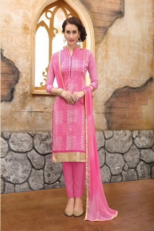 Eye catching pink cotton Heavy Embroidery On Neck  with Lace Border  Dress Material