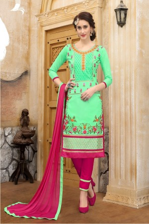 Tremendous Pista green cotton Heavy Embroidery On Neck  with Lace Border  Dress Material