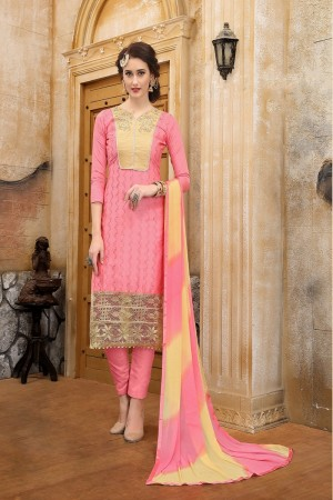 Delusive Pink cotton Heavy Embroidery On Neck  with Lace Border  Dress Material