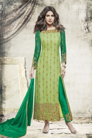 Priyanka Chopra Light Green Net Heavy Embroidery Top with Embroidery Bottom  Salwar Kameez