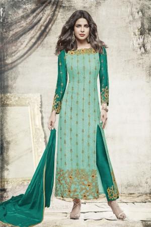 Priyanka Chopra Light Cyan Net Heavy Embroidery Top with Embroidery Bottom  Salwar Kameez