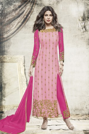 Priyanka Chopra Light Pink Net Heavy Embroidery Top with Embroidery Bottom  Salwar Kameez