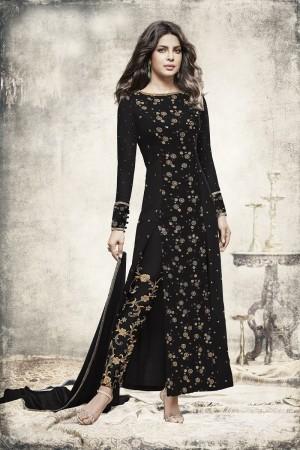 Priyanka Chopra Black Georgette Heavy Embroidery Top with Embroidery Bottom  Salwar Kameez