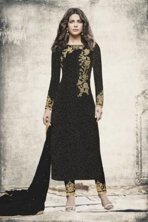 Priyanka Chopra Black Brasso Heavy Embroidery Top with Embroidery Bottom  Salwar Kameez