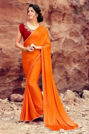 Classic Orange  Satin Silk Plain satin silk saree with emroidered Blouse Saree