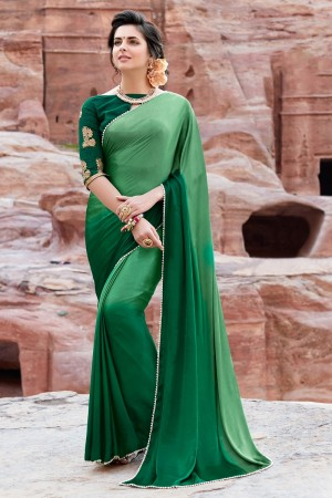 Classy Green Satin Silk Plain satin silk saree with emroidered Blouse Saree