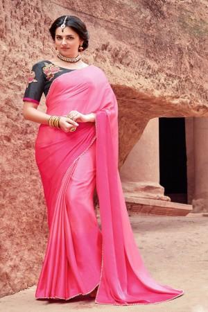 Desirable Pink Satin Silk Plain satin silk saree with emroidered Blouse Saree