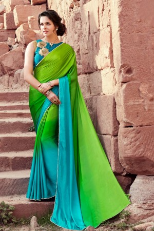 Beguiling Green & Blue Satin Silk Plain satin silk saree with emroidered Blouse Saree