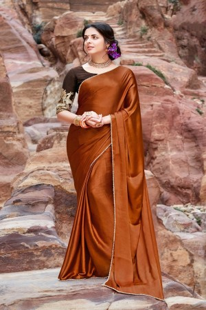 Enriching Coffee Satin Silk Plain satin silk saree with emroidered Blouse Saree