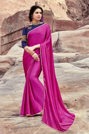 Fantastic Pink  Satin Silk Plain satin silk saree with emroidered Blouse Saree