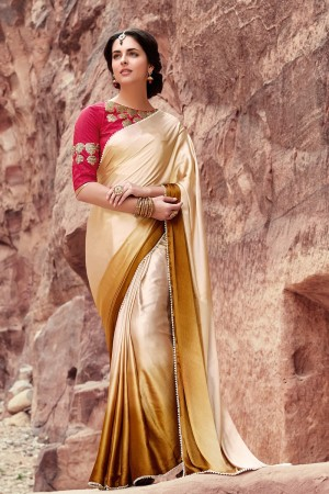 Majestic Cream & Golden Satin Silk Plain satin silk saree with emroidered Blouse Saree
