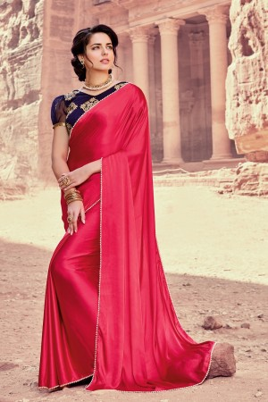 Glossy Drak Pink Satin Silk Plain satin silk saree with emroidered Blouse Saree