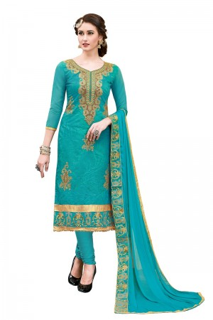 Ethereal Aqua Chanderi Cotton Heavy Embroidery On Neck and Sleeve with Lace Border  Dress Material