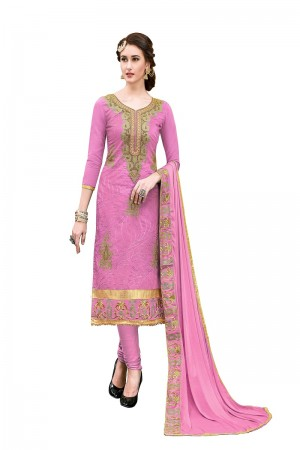 Auspicious Pink Chanderi Cotton Heavy Embroidery On Neck and Sleeve with Lace Border  Dress Material