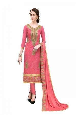Amazing Red Chanderi Cotton Heavy Embroidery On Neck and Sleeve with Lace Border  Dress Material