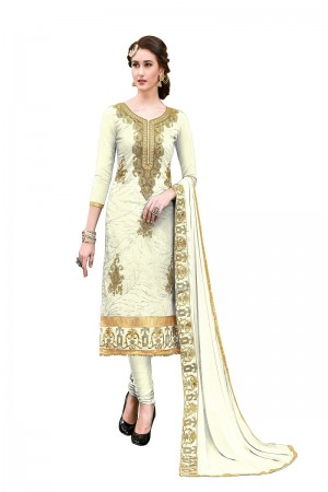 Applaudable White Chanderi Cotton Heavy Embroidery On Neck and Sleeve with Lace Border  Dress Material