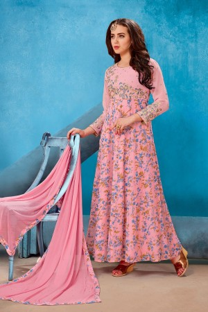 Beautiful Pink Georgette Printed Georgette Embroied with Stone work Gown