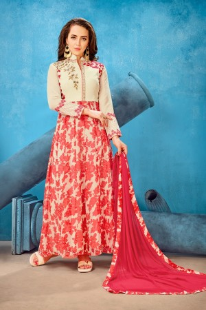 Refreshing Cream & Red Georgette Printed Georgette Embroied  with Stone work Gown
