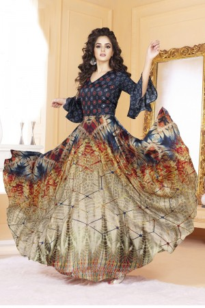 Stunning Tusser silk Brown & blue Digital Print Ready made gown