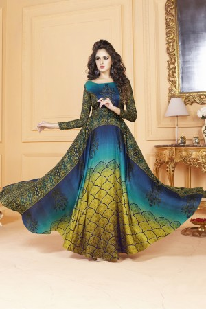 Angellic Tusser silk Blue  Digital Print Ready made gown