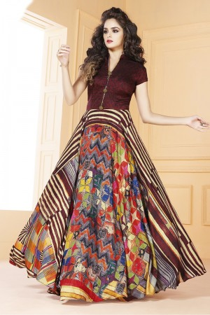 Ethnic Tusser silk Wine  Digital Print Ready made gown