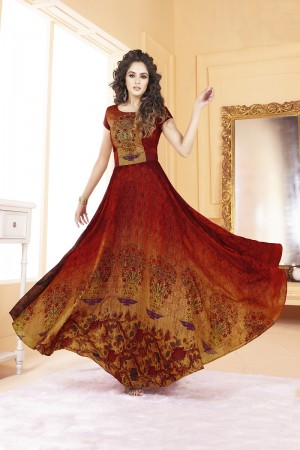 Engrossing Tusser silk Red Digital Print Ready made gown