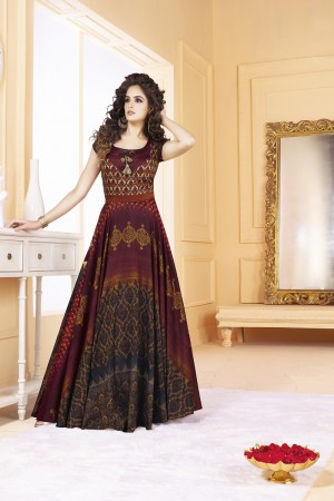 Ravishing Tusser silk wine & black Digital Print Ready made gown