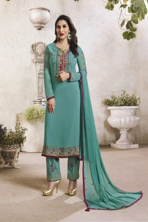 Sophie Chaudhary Rama Green Georgette Embroidery Work  in Neck And Sleeves with Stone work Salwar Kameez