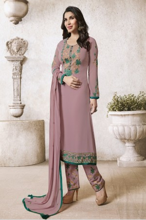 Sophie Chaudhary Light Purple Georgette Embroidery Work  in Neck And Sleeves with Stone work Salwar Kameez