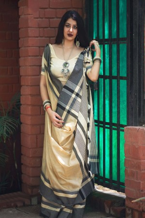 Splendiferous Off white Slub Cotton  With Matching  Blouse  Saree