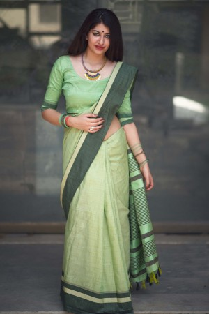 Voguish Light Green Slub Cotton  With Matching  Blouse  Saree