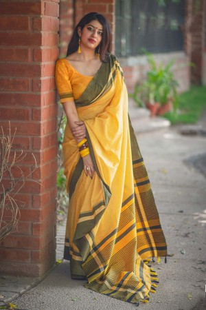Graceful Yellow Slub Cotton  With Matching  Blouse  Saree