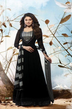 Jennifer Winget Black Georgette Heavy Embroidery on Neck and Sleeve with Printed Dupatta Salwar Kameez