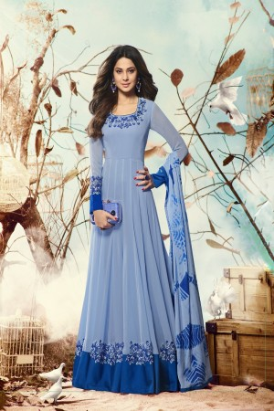 Jennifer Winget Sky Blue Georgette Heavy Embroidery on Neck and Sleeve with Printed Dupatta Salwar Kameez