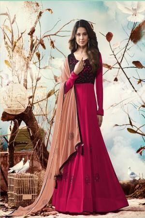 Jennifer Winget Rani pink Georgette Heavy Embroidery on Neck and Sleeve with Printed Dupatta Salwar Kameez