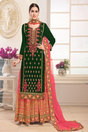 Affluent Green Georgette Heavy Embroidery on Top and Zari work on Sarara