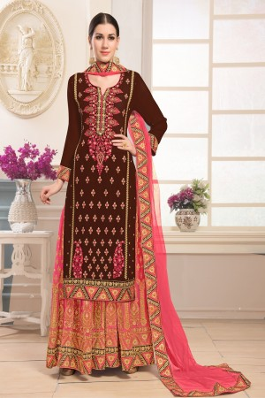 Exquisite Wine Georgette Heavy Embroidery on Top and Zari work on Sarara